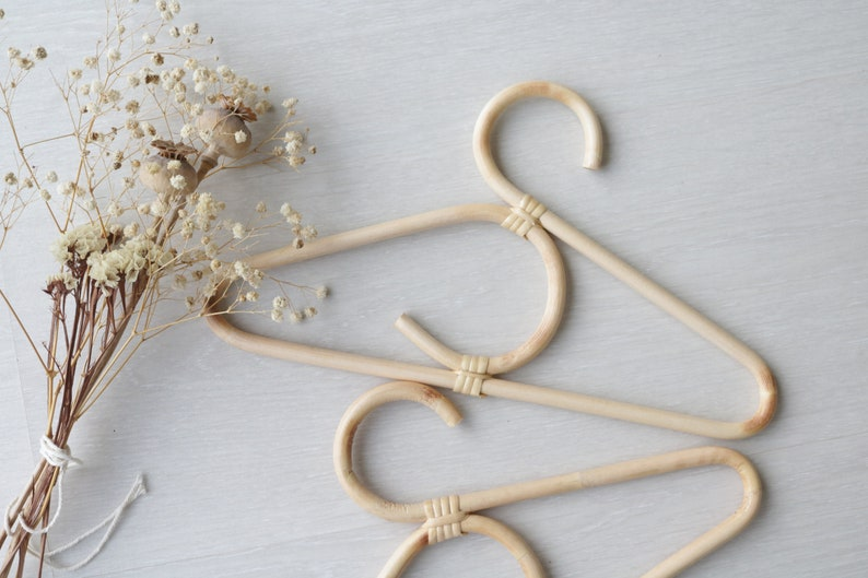 bamboo hangers Set of 3 Rattan hanger baby room decoration eco friendly. bamboo accessories