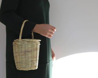 Jane Birkin Basket, Small, Handmade in Portugal, basket with lid, Handwoven Birkin Basket, cane, Round Basket, Basket Purse.