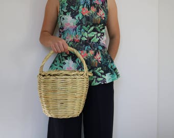 Jane Birkin Basket - medium size, basket with lid, Handwoven Birkin Basket, cane bag, round basket, basket bag, summer bag, panier, cesta.
