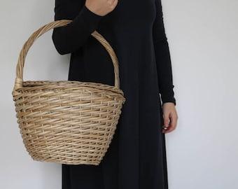 Jane Birkin Basket - Large, basket with a Lid, Round Wicker Basket, Round Willow Basket, Round Basket, Jane Birkin Basket, Basket Purse.