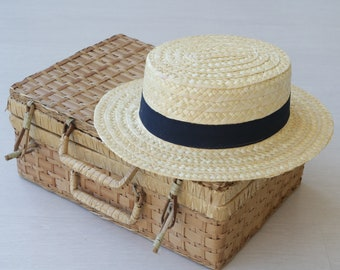 Straw hat, boater hat, summer hat, spring hat, women hat, gift for her, hats, chapeau de paille, sombrero de paja, Strohhut, stro hoed.