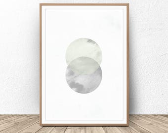 Abstract Painting, Watercolor Abstract, Circle Wall Art, Geometric Painting, Scandinavian decor, Modern Abstract Wall Art, Nordic Art, Print
