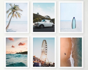 Ocean Set of 6 Framed Print, Coastal Wall Art, Blue Surfing Waves Photo Shipped, Aerian Sea Beach Poster, Pastel Tropical Palm Photography