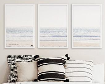 Large Framed Coastal Set of 3 Prints, Framed Beach House Decor, Framed Gallery Wall Art, Modern Minimalist Coastal Wall Art Set of 3 Prints