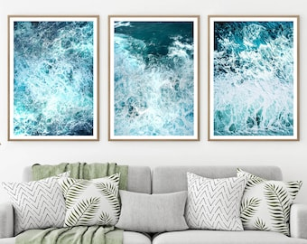 Ocean Wave Print, 3 Piece Wall Art, Ocean Poster Decor, 3 Piece Decor,  Ocean Art Print, Water Beach Decor, Coastal, Water Instant Download