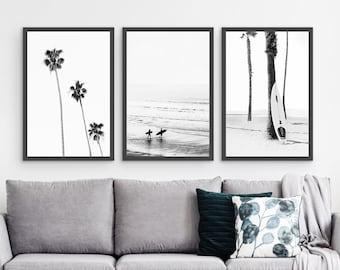 Framed Beach Wall Art Set of 3 Prints, Framed Black and White Beach Prints Set, Large Coastal Framed Decor Set of 3 Prints, Framed Beach Art