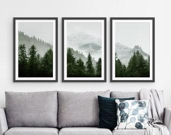 Mountain Forest Framed Print Set of 3, Framed Forest Print Set, Misty Mountain Print Set of 3, Forest Print Fall Wall Art, Forest Farm