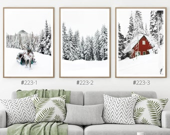 Winter Wonderland Printable Set of 3 Piece. Christmas Gallery Wall Art Prints. Nature Photography of Cabin, Reindeer and Snowy Forest Trees