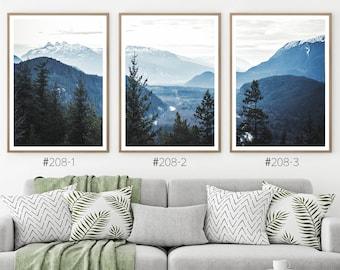 Blue Forest Set of 3 Wall Art. Digital Nordic Landscape Print. Navy Blue Foggy Trees Nature Photo. Modern Indigo Poster