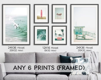 Framed Wall Art Set of 6 California Coastal Beach Prints. 24x36 and 12x16 Black Wood Frames Picture Gallery. Ready to Hang Pictures