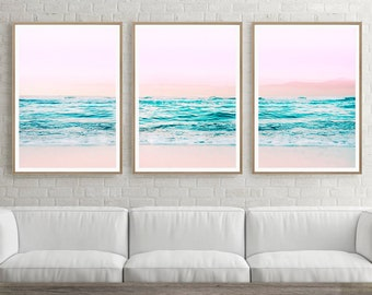Coastal Wall Art, Ocean Beach Photography, Ocean Poster Decor, Beach Print,  Sea Coast, Three Piece Coastal Decor, Set Of 3 Prints, Coast Art