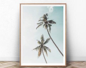 Palm Wall Art, Coastal Tree Modern Print, Summer Beach, Tropical Leaves Digital Photo, California Art, Boho Palm Poster, Modern Tree Pastel