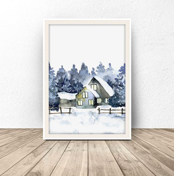 Farmhouse Wall Decor, Forest Farm, Winter Wonderland, Watercolor Forest Home, Watercolor Landscape, Winter Forest Print, Snow, Nursery Decor