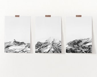 Mountain Gallery Wall Set of 3 Giclee Prints, Rustic Autumn Fall Wall Art, Nature Landscape Printed and Shipped Set of 3 Minimalist Prints