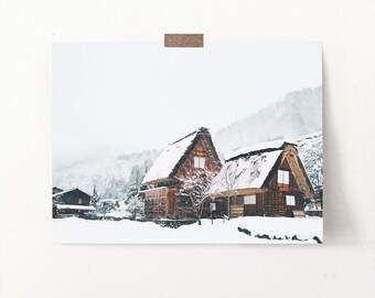 Scandinavian Mountain Wall Art, Nordic Rest Print, Modern Winter Holiday Home, Wooden House Photo, Frozen and Snow Forest