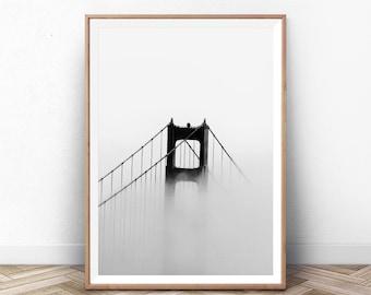 Art Print San Francisco, Golden Gate Bridge, Black and White, San Francisco Photo, Golden Gate Bridge Print, California Wall Art, Big Poster