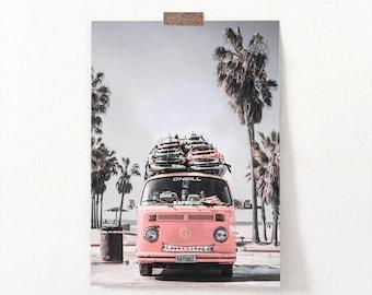 Pink Retro Van Poster, Large Surf Photography, Pink Surfers Bus, Surfboards, Coastal Poster, Beach Wall Art, Surfing, Surf Decor, Summer Art