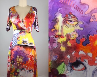 df8b743b1 1990s John Galliano dress // Galliano floral abstract faces dress // Dior  Galliano // S