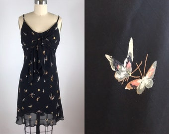 442a0985419f1 1990s Betsey Johnson dress // butterfly print baby doll dress // Medium