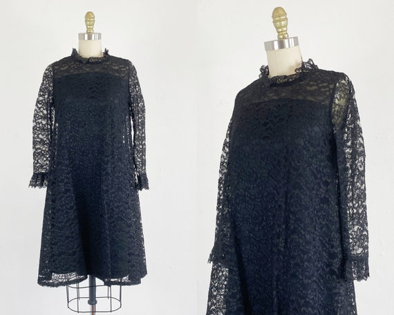 1960s Lace Dress - Black Lace Dress - 60s Floral L