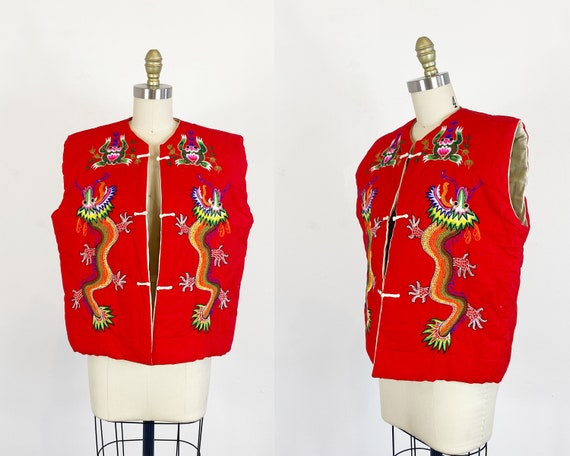 1970s Chinese Vest - Dragon Vest - Embroidered Ves