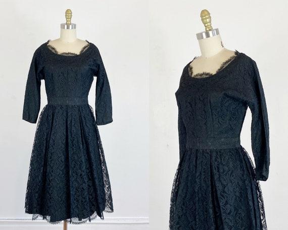 1950s black lace dress / lace dress / cocktail dre