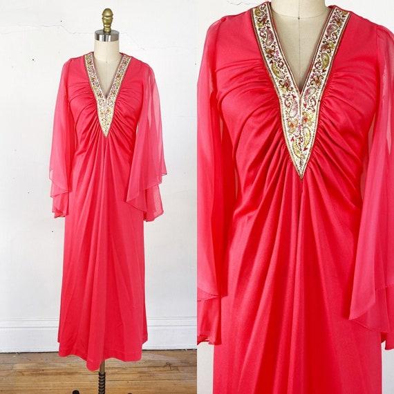 1970s dress // pink disco dress // bell sleeve dre
