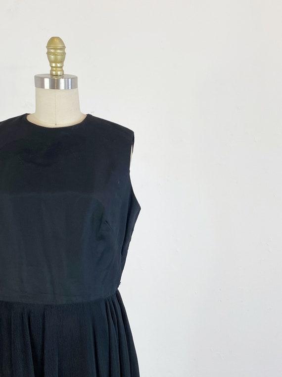1960s party dress / black dress / pleated chiffon… - image 3