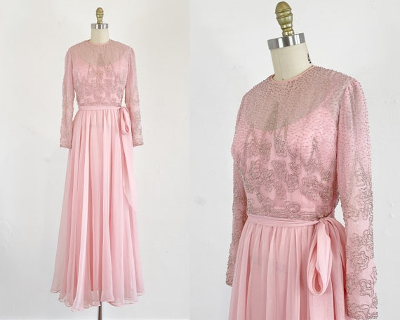 1960s Jack Bryan Gown - Pink Chiffon Gown - Beaded