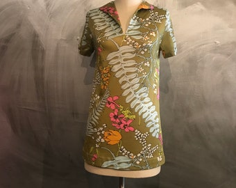 1960s floral blouse/Pop art blouse/mod blouse/-S