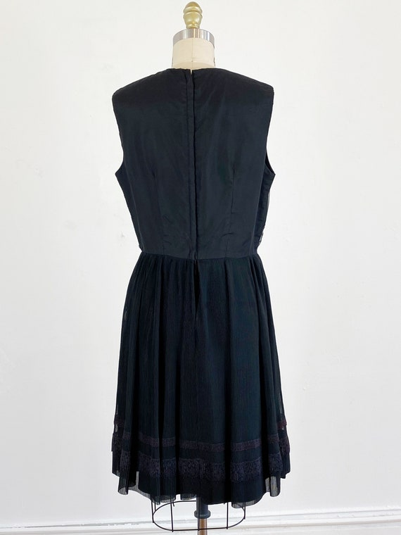 1960s party dress / black dress / pleated chiffon… - image 5