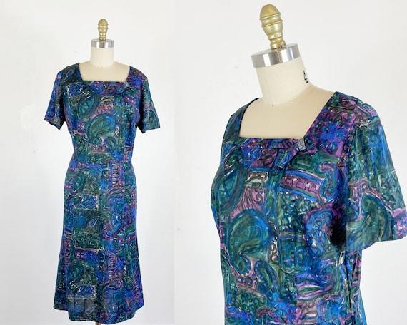 1950s Dress / 50s abstract dress / 50s dress / Siz