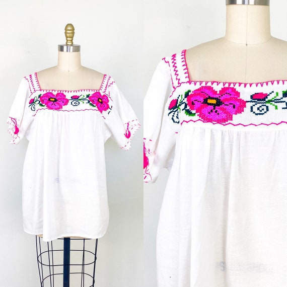 1950s blouse // Mexican peasant blouse // embroide