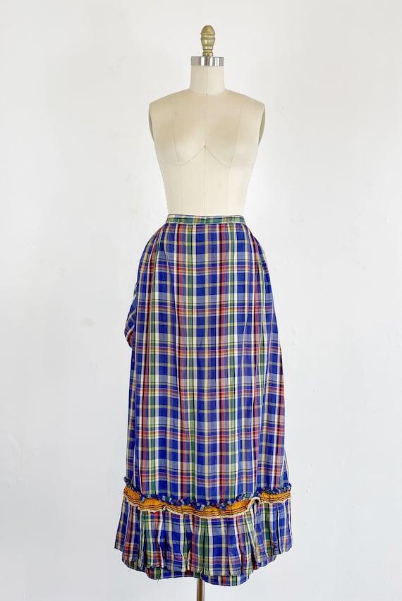 Authentic Victorian Skirt - Bustle Skirt - Plaid … - image 2