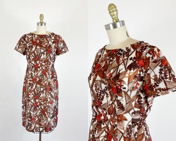 1950s Dress / 50s floral dress / Abstract floral D