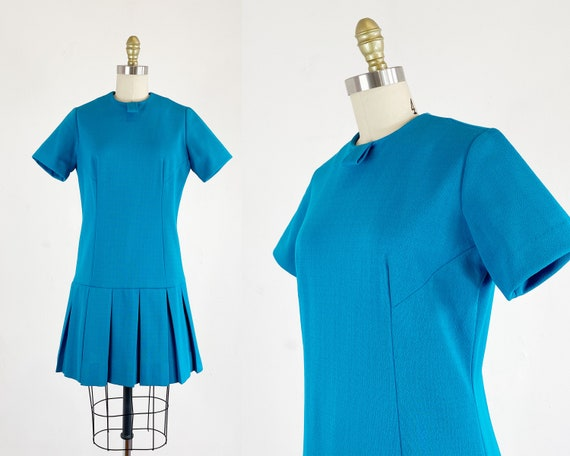 1960s Drop Waist Dress - Mod Dress - Turquoise Dro