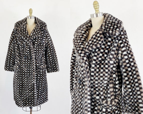 1960s Faux Fur Coat - Coat By Betty Rose - Checker