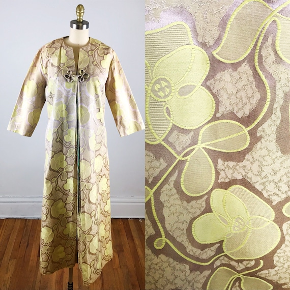 1960s house dress // gold floral fifth avenue hou… - image 1