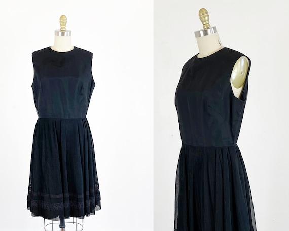 1960s party dress / black dress / pleated chiffon… - image 1
