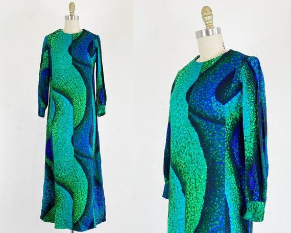 1960s Maxi Dress - Abstract Maxi Dress - 60s Psych
