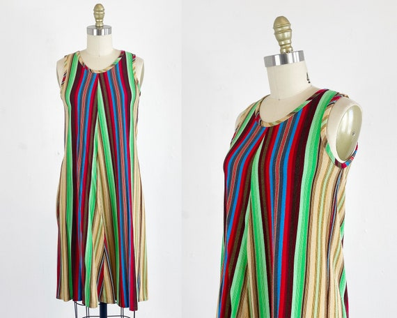 1960s Scooter Dress - Striped Dress - 60s Shift Dr