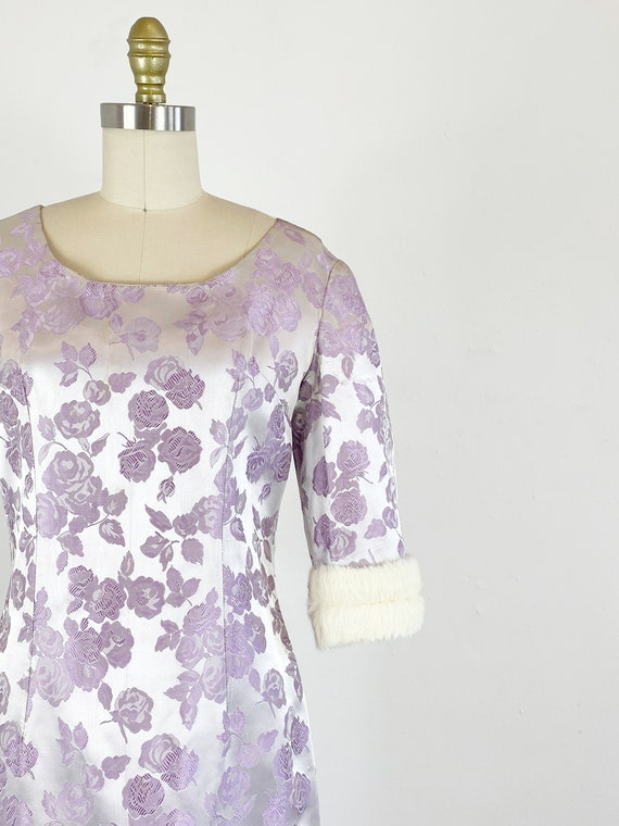 1950s Rose Print Dress - 50s Silk Jacquard Dress … - image 3