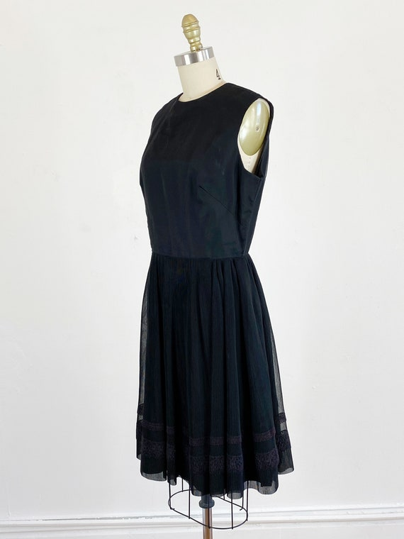 1960s party dress / black dress / pleated chiffon… - image 6