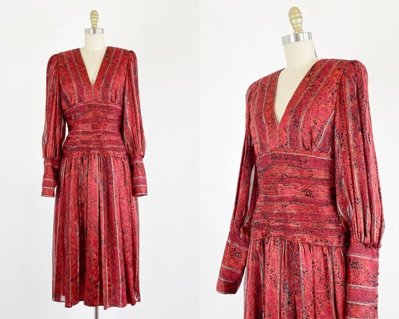 1980s Morton Myles Dress - Silk Cocktail Dress - R
