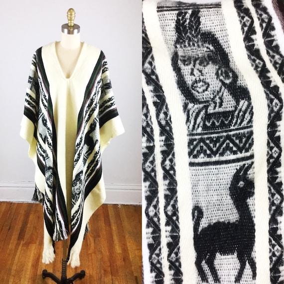 1970s poncho // cream Native American poncho // tr