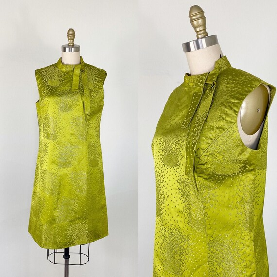 1960s dress / green and silver metallic dress / pa