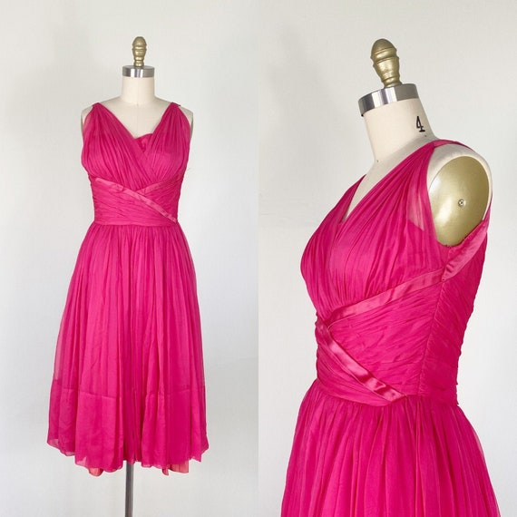 1950s Party Dress / Cocktail Dress / Pink Chiffon