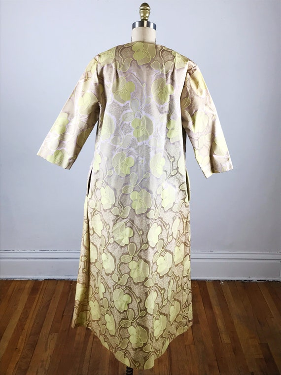 1960s house dress // gold floral fifth avenue hou… - image 6