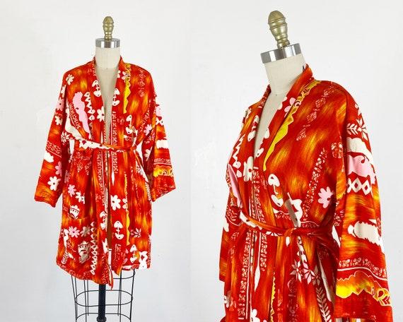1960s Hawaiian Robe / Unisex Robe / Short Robe / K