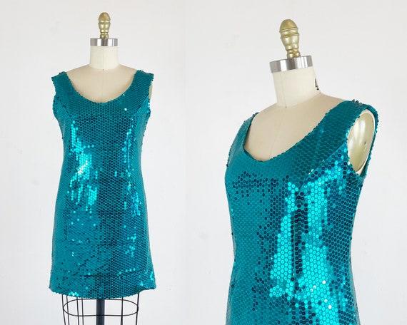 1980s Sequin Dress - Sequin Mini Dress - Turquoise